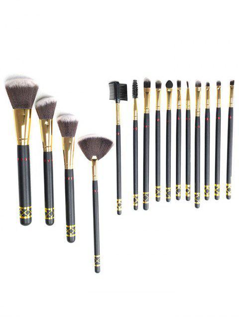 shops Professional 15 Pcs Cosmetic Ultra Soft Fiber Makeup Brush Suit - BLACK  Mobile