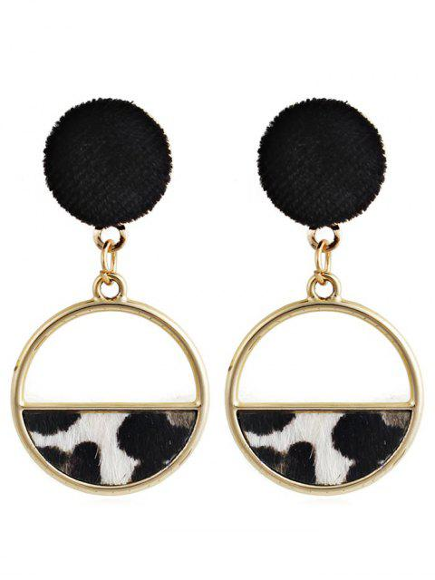 latest Hollow Out Round Leopard Drop Earrings - WHITE  Mobile