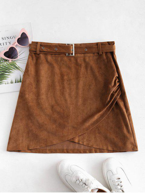 chic Belted Faux Suede Overlap Skirt - BROWN L Mobile