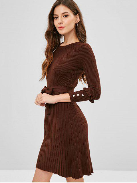 online Ribbed Beaded Sweater Dress - COFFEE ONE SIZE Mobile
