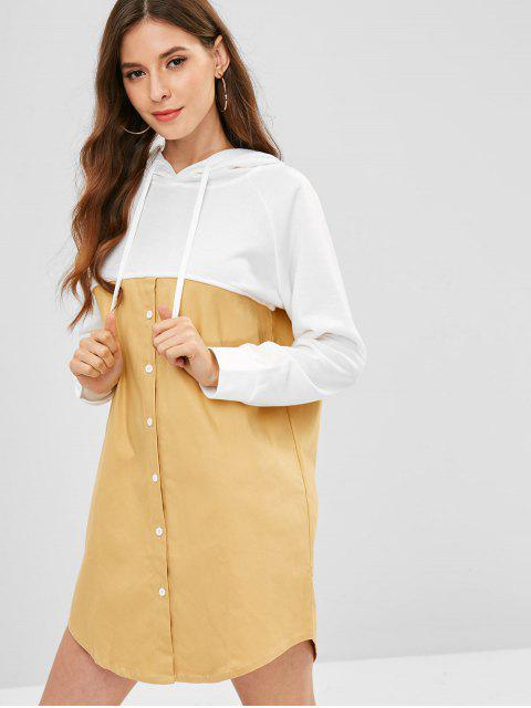 hot Two Tone Half Buttoned Casual Dress - MULTI ONE SIZE Mobile