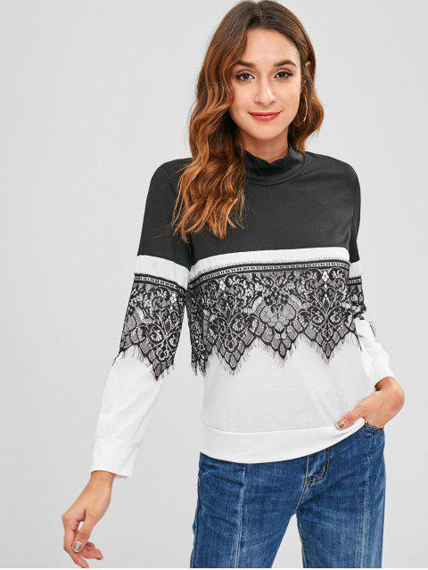 outfit Lace Panel Two Tone Tee - BLACK S Mobile