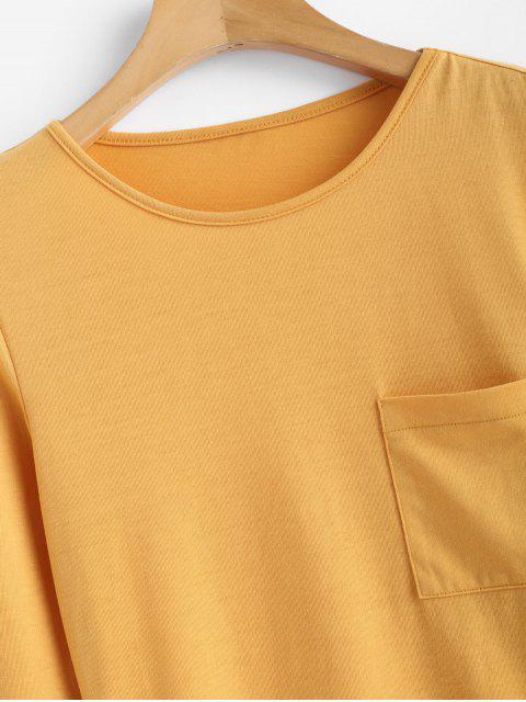 shops Patch Pocket Long Sleeve Jersey Tee - MUSTARD L Mobile