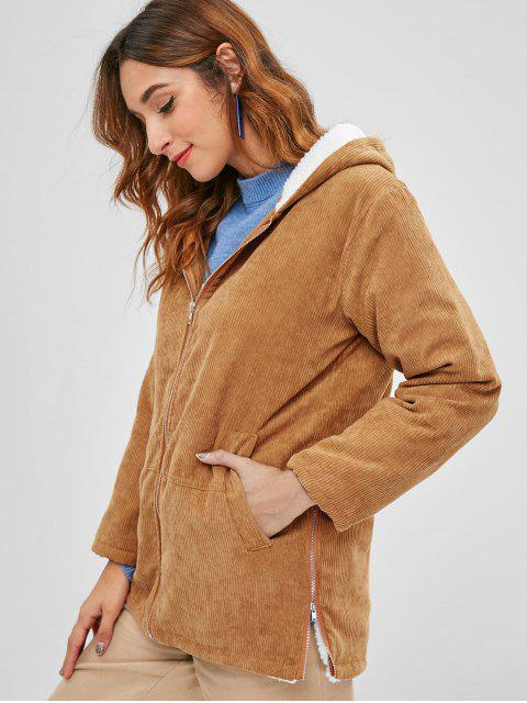 buy Hooded Fleece Lining Corduroy Coat - LIGHT BROWN S Mobile