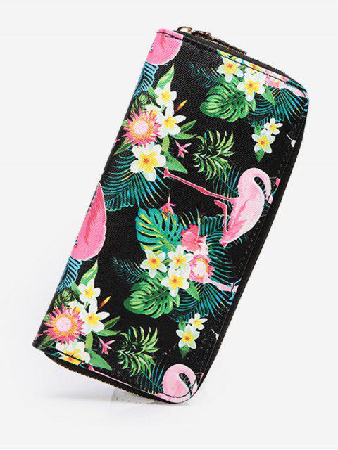 women Flamingo Print Zip Around Wallet - BLACK  Mobile