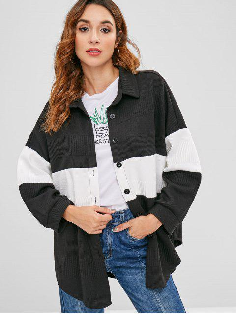 best Color Block Oversized Shirt - BLACK ONE SIZE Mobile