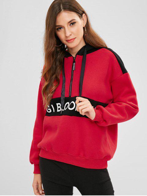 Buchstabe Half Zipper Drop Schulter Hoodie - Rot Eine Größe Mobile