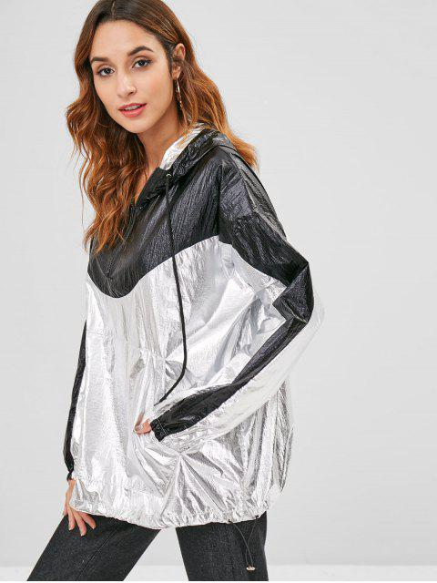 unique Front Pocket Metallic Oversized Hoodie - SILVER ONE SIZE Mobile