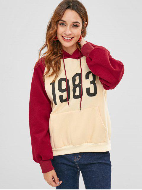 women Raglan Sleeve Color Block Pocket Hoodie - ANTIQUE WHITE ONE SIZE Mobile
