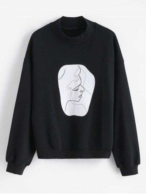 outfit Face Graphic Mock Neck Sweatshirt - BLACK XL Mobile