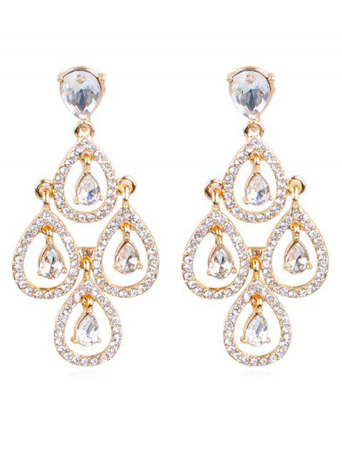 outfits Sparkly Rhinestone Water Drop Wedding Earrings - GOLD  Mobile