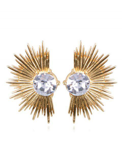 Pendientes de aleación de abanico de diamantes de imitación punk - Oro  Mobile