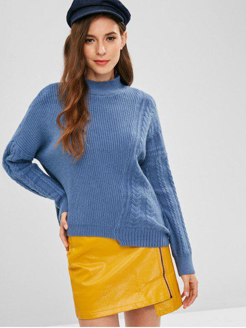 fancy Cable Braid Mixed Knit Oversized Sweater - SILK BLUE ONE SIZE Mobile