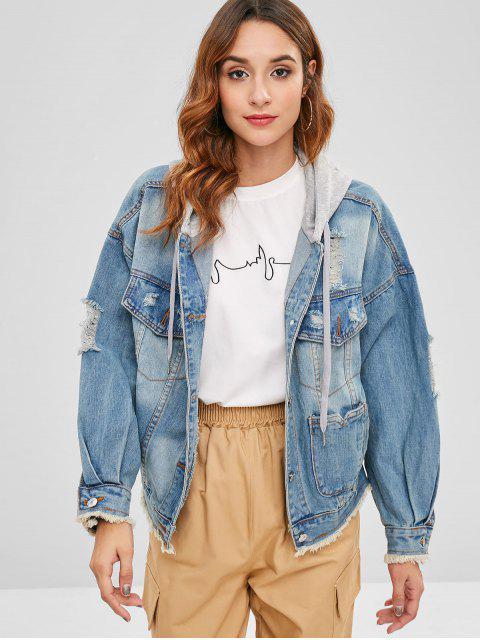 womens Frayed Hem Distressed Denim Jacket - DENIM BLUE M Mobile