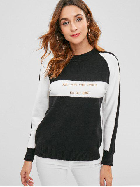 online Letter Color Block Raglan Sleeve Jumper Sweater - BLACK ONE SIZE Mobile
