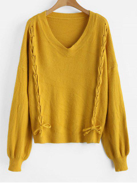 shop Lace-up Drop Shoulder Sweater - ORANGE GOLD ONE SIZE Mobile