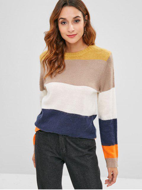 Pullover mit weitem Streifen und farbigem Block - Multi Eine Größe Mobile