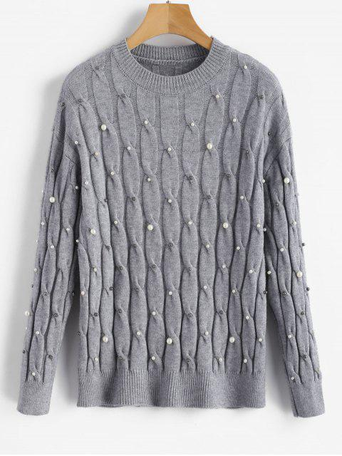 trendy Faux Pearls Cable Knitted Sweater - GRAY ONE SIZE Mobile