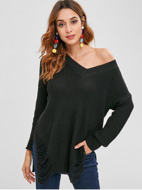 fancy Side Slit Distressed Sweater - BLACK ONE SIZE Mobile