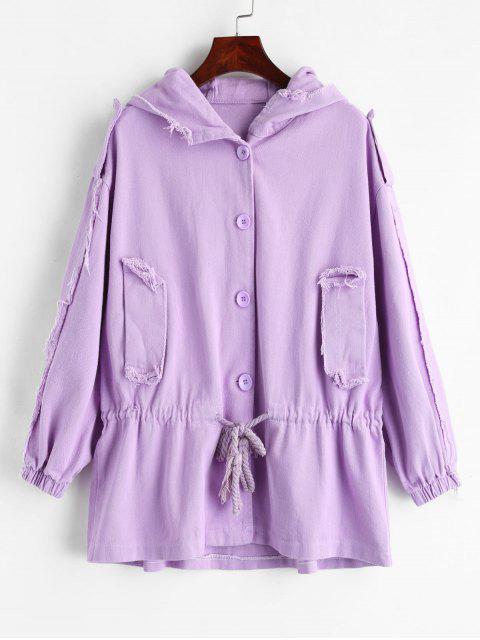 buy Ripped Drawstring Hooded Denim Jacket - MAUVE M Mobile