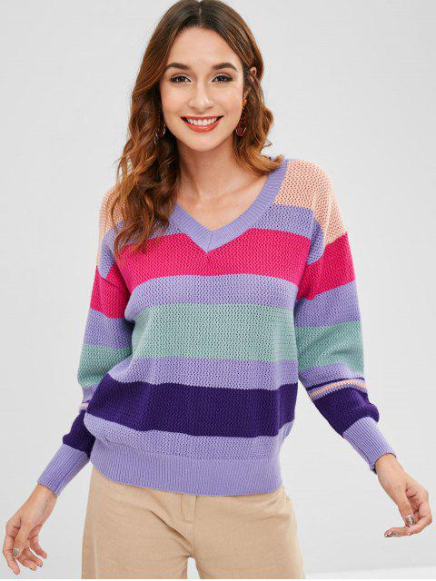 womens Openwork Color Block Sweater - MULTI-C ONE SIZE Mobile
