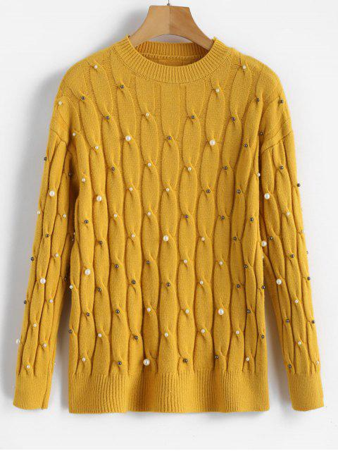 women Faux Pearls Cable Knitted Sweater - MUSTARD ONE SIZE Mobile