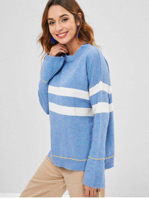 new Loose Flare Sleeve Stripes Sweater - BLUE KOI ONE SIZE Mobile