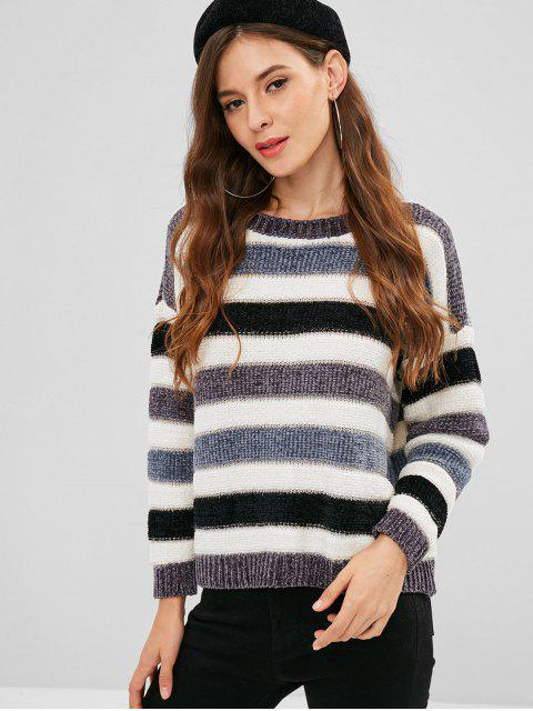 outfit Metallic Thread Striped Sweater - MULTI ONE SIZE Mobile