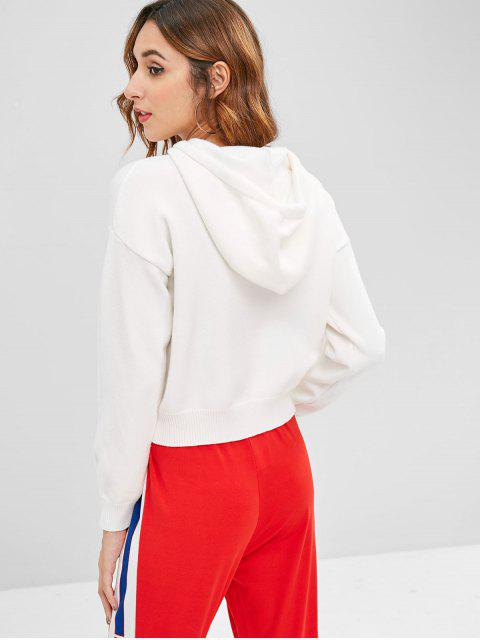 outfits Hooded Drop Shoulder Casual Sweater - WHITE ONE SIZE Mobile
