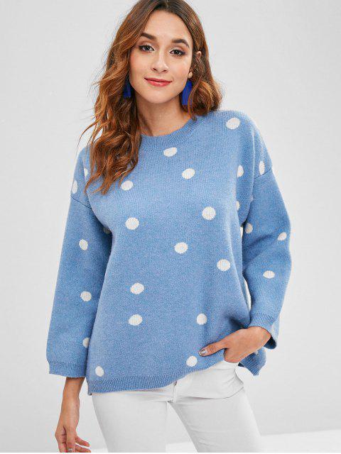 Polka Dot Pullover - Helles Blau Eine Größe Mobile