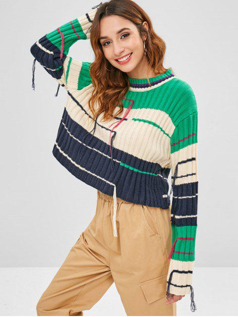 trendy Boxy Ribbed Knit Fringed Sweater - MULTI ONE SIZE Mobile
