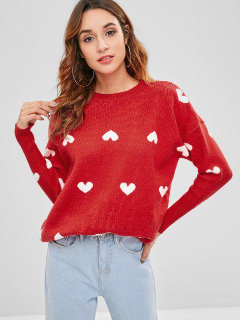 Pull Cœur Tunique Graphique Lâche - Rouge Taille Unique Mobile