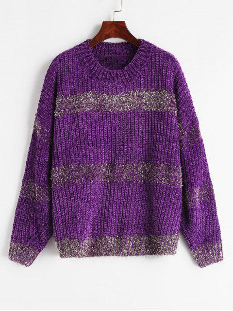 chic Metallic Thread Chunky Sweater - PURPLE ONE SIZE Mobile