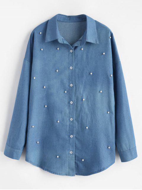 Faux Perlen Perlen Chambray Shirt - Seiden Blau M Mobile