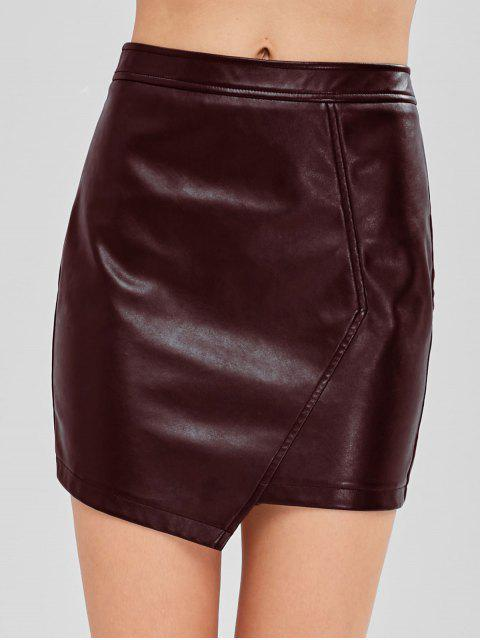 affordable ZAFUL Faux Leather Asymmetric Skirt - RED WINE XL Mobile