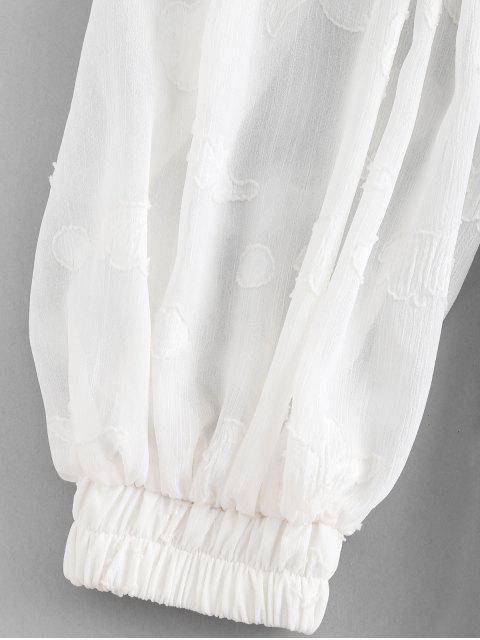 trendy ZAFUL Lantern Sleeve A Line Dress - WHITE XL Mobile