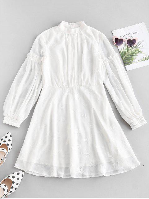 ZAFUL Laterne Ärmel A-Linie Kleid - Weiß M Mobile