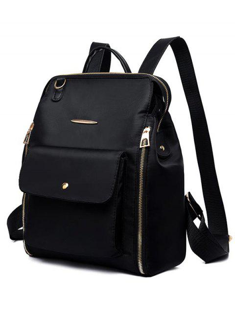 women's Nylon Zip Pockets School Backpack - BLACK  Mobile