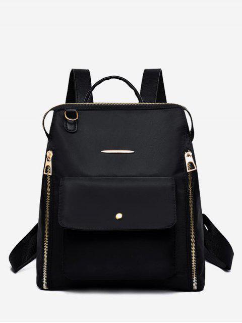 women's Nylon Zip Pockets School Backpack - BLACK  Mobile