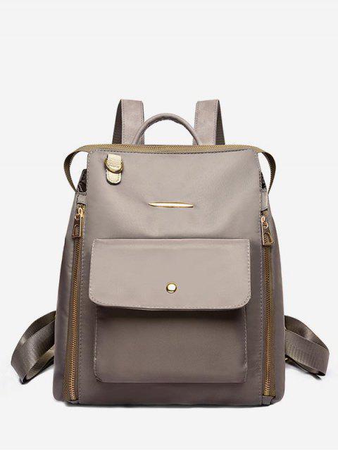 new Nylon Zip Pockets School Backpack - KHAKI  Mobile