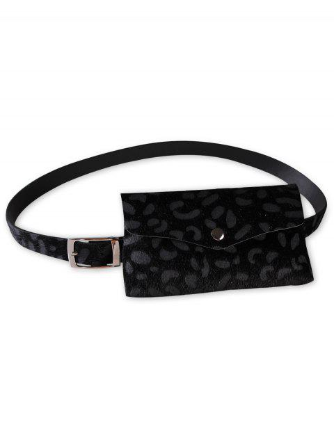 women Unique Leopard Patter Fanny Pack Waist Belt Bag - BLACK  Mobile