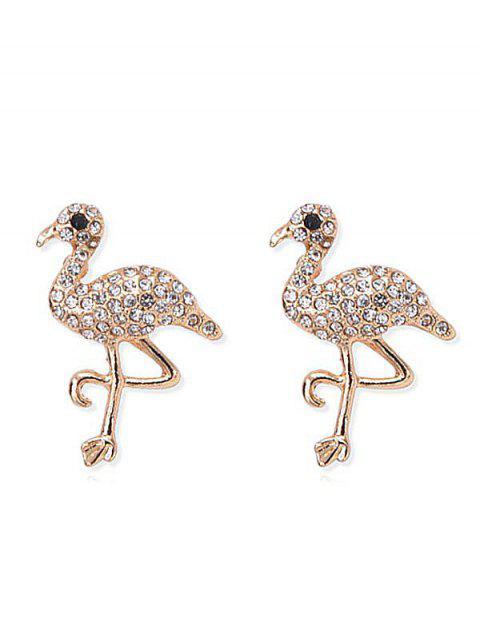 Pendientes de aves con incrustaciones de diamantes de imitación brillante - Oro  Mobile