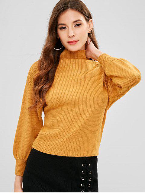 Mock Neck Drop Schulter Lässige Pullover - Gelb Eine Größe Mobile