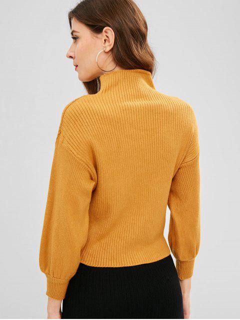 trendy Mock Neck Drop Shoulder Casual Sweater - YELLOW ONE SIZE Mobile
