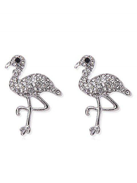Pendientes de aves con incrustaciones de diamantes de imitación brillante - Plata  Mobile