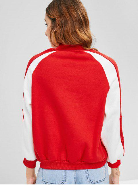 women Letter Embroidered Raglan Sleeve Sweatshirt - RED ONE SIZE Mobile