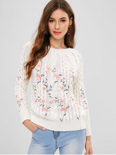 Suéter de manga raglán bordado - Blanco Talla única Mobile