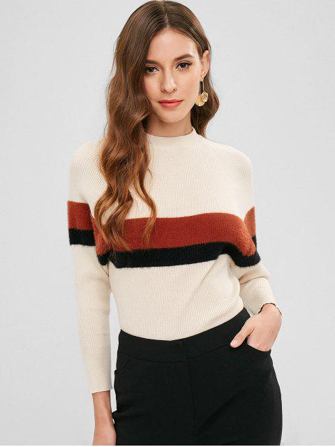 fashion Raglan Sleeve Color Block Casual Sweater - CRYSTAL CREAM ONE SIZE Mobile