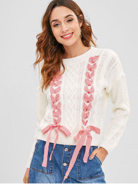 Suéter de la cinta de la guinga con cordones - Blanco Talla única Mobile