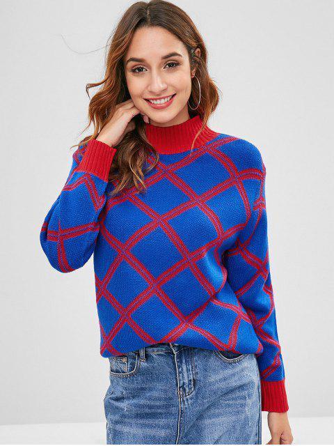 Suéter Geométrico Cuello Mock - Azul de Arándanos Talla única Mobile